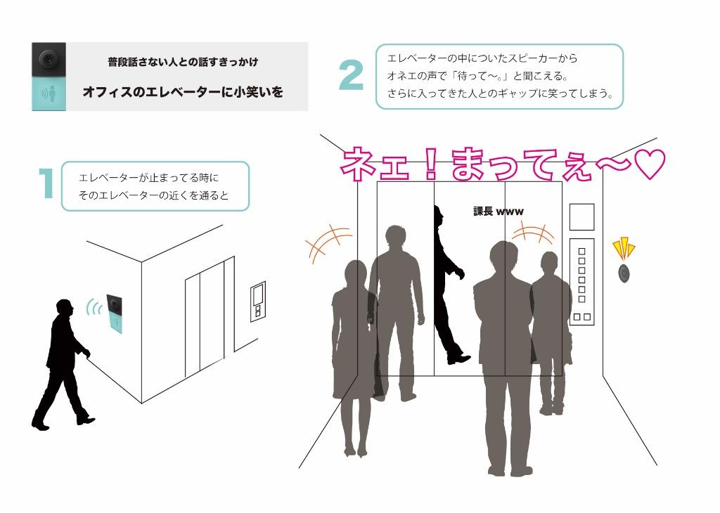 オフィスのエレベーターに小笑いを